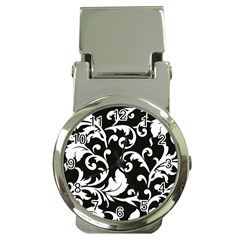 Vector Classical Traditional Black And White Floral Patterns Money Clip Watches by Amaryn4rt
