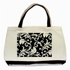 Vector Classical Traditional Black And White Floral Patterns Basic Tote Bag (two Sides) by Amaryn4rt