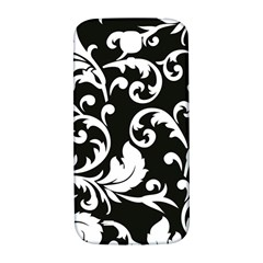 Vector Classical Traditional Black And White Floral Patterns Samsung Galaxy S4 I9500/i9505  Hardshell Back Case by Amaryn4rt