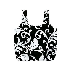 Vector Classical Traditional Black And White Floral Patterns Full Print Recycle Bags (s)  by Amaryn4rt
