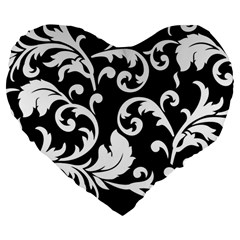 Vector Classical Traditional Black And White Floral Patterns Large 19  Premium Flano Heart Shape Cushions by Amaryn4rt