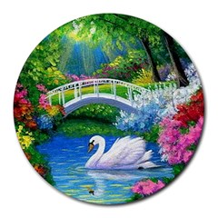 Swan Bird Spring Flowers Trees Lake Pond Landscape Original Aceo Painting Art Round Mousepads by Amaryn4rt
