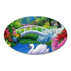 Swan Bird Spring Flowers Trees Lake Pond Landscape Original Aceo Painting Art Oval Magnet