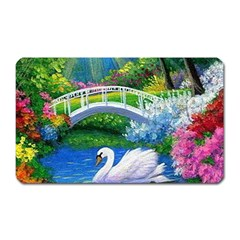 Swan Bird Spring Flowers Trees Lake Pond Landscape Original Aceo Painting Art Magnet (rectangular) by Amaryn4rt