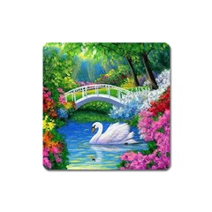Swan Bird Spring Flowers Trees Lake Pond Landscape Original Aceo Painting Art Square Magnet