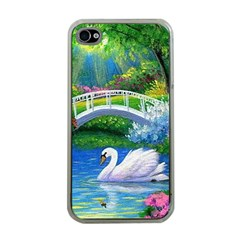 Swan Bird Spring Flowers Trees Lake Pond Landscape Original Aceo Painting Art Apple Iphone 4 Case (clear) by Amaryn4rt