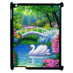 Swan Bird Spring Flowers Trees Lake Pond Landscape Original Aceo Painting Art Apple Ipad 2 Case (black) by Amaryn4rt