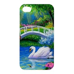 Swan Bird Spring Flowers Trees Lake Pond Landscape Original Aceo Painting Art Apple Iphone 4/4s Hardshell Case by Amaryn4rt