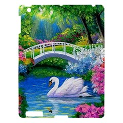 Swan Bird Spring Flowers Trees Lake Pond Landscape Original Aceo Painting Art Apple Ipad 3/4 Hardshell Case by Amaryn4rt