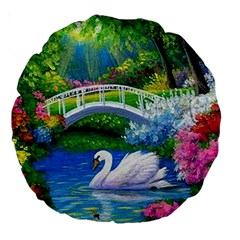 Swan Bird Spring Flowers Trees Lake Pond Landscape Original Aceo Painting Art Large 18  Premium Round Cushions