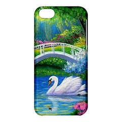Swan Bird Spring Flowers Trees Lake Pond Landscape Original Aceo Painting Art Apple Iphone 5c Hardshell Case by Amaryn4rt