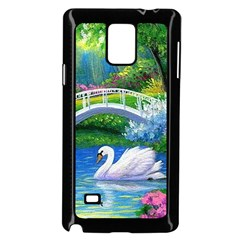 Swan Bird Spring Flowers Trees Lake Pond Landscape Original Aceo Painting Art Samsung Galaxy Note 4 Case (black) by Amaryn4rt