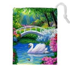 Swan Bird Spring Flowers Trees Lake Pond Landscape Original Aceo Painting Art Drawstring Pouches (xxl) by Amaryn4rt