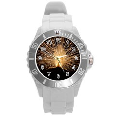 3d Beautiful Peacock Round Plastic Sport Watch (l) by Amaryn4rt