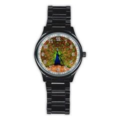 3d Peacock Bird Stainless Steel Round Watch