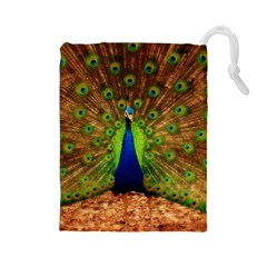 3d Peacock Bird Drawstring Pouches (large)  by Amaryn4rt
