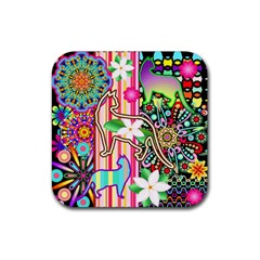 Mandalas, Cats And Flowers Fantasy Digital Patchwork Rubber Square Coaster (4 Pack)  by BluedarkArt