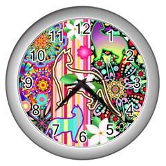 Mandalas, Cats And Flowers Fantasy Digital Patchwork Wall Clocks (silver)  by BluedarkArt