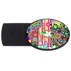 Mandalas, Cats And Flowers Fantasy Digital Patchwork Usb Flash Drive Oval (4 Gb) by BluedarkArt