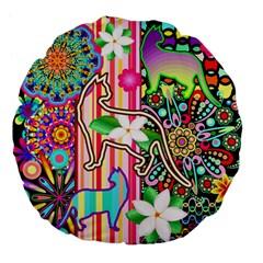 Mandalas, Cats And Flowers Fantasy Digital Patchwork Large 18  Premium Flano Round Cushions by BluedarkArt