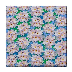 Plumeria Bouquet Exotic Summer Pattern  Tile Coasters by BluedarkArt