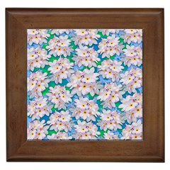 Plumeria Bouquet Exotic Summer Pattern  Framed Tiles by BluedarkArt