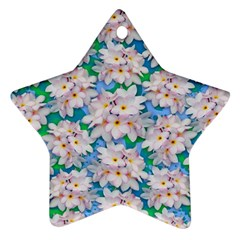Plumeria Bouquet Exotic Summer Pattern  Ornament (star) by BluedarkArt
