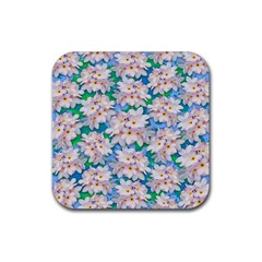 Plumeria Bouquet Exotic Summer Pattern  Rubber Square Coaster (4 Pack)  by BluedarkArt