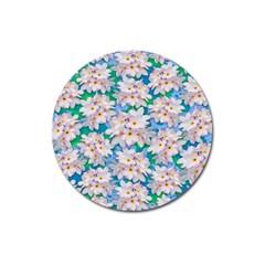 Plumeria Bouquet Exotic Summer Pattern  Magnet 3  (round) by BluedarkArt