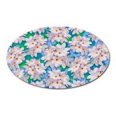 Plumeria Bouquet Exotic Summer Pattern  Oval Magnet by BluedarkArt