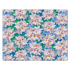 Plumeria Bouquet Exotic Summer Pattern  Rectangular Jigsaw Puzzl by BluedarkArt