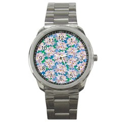 Plumeria Bouquet Exotic Summer Pattern  Sport Metal Watch by BluedarkArt
