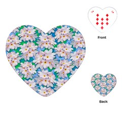 Plumeria Bouquet Exotic Summer Pattern  Playing Cards (heart)  by BluedarkArt
