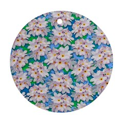 Plumeria Bouquet Exotic Summer Pattern  Round Ornament (two Sides) by BluedarkArt