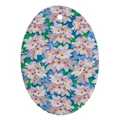 Plumeria Bouquet Exotic Summer Pattern  Oval Ornament (two Sides) by BluedarkArt