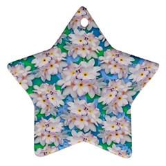 Plumeria Bouquet Exotic Summer Pattern  Star Ornament (two Sides) by BluedarkArt