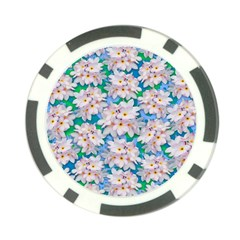 Plumeria Bouquet Exotic Summer Pattern  Poker Chip Card Guard by BluedarkArt