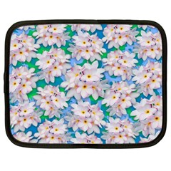 Plumeria Bouquet Exotic Summer Pattern  Netbook Case (xxl)  by BluedarkArt