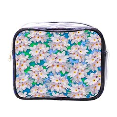 Plumeria Bouquet Exotic Summer Pattern  Mini Toiletries Bags by BluedarkArt