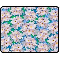 Plumeria Bouquet Exotic Summer Pattern  Fleece Blanket (medium)  by BluedarkArt