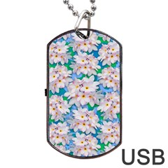 Plumeria Bouquet Exotic Summer Pattern  Dog Tag Usb Flash (one Side) by BluedarkArt