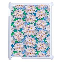 Plumeria Bouquet Exotic Summer Pattern  Apple Ipad 2 Case (white) by BluedarkArt