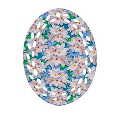Plumeria Bouquet Exotic Summer Pattern  Oval Filigree Ornament (two Sides) by BluedarkArt