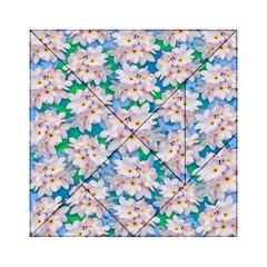 Plumeria Bouquet Exotic Summer Pattern  Acrylic Tangram Puzzle (6  X 6 ) by BluedarkArt