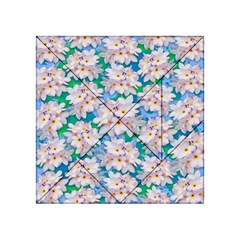 Plumeria Bouquet Exotic Summer Pattern  Acrylic Tangram Puzzle (4  X 4 ) by BluedarkArt