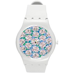 Plumeria Bouquet Exotic Summer Pattern  Round Plastic Sport Watch (m) by BluedarkArt
