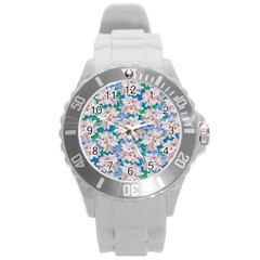Plumeria Bouquet Exotic Summer Pattern  Round Plastic Sport Watch (l) by BluedarkArt
