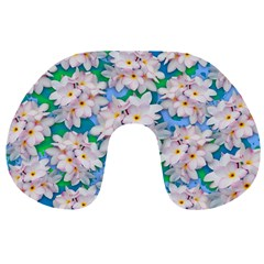Plumeria Bouquet Exotic Summer Pattern  Travel Neck Pillows by BluedarkArt