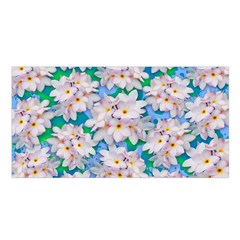 Plumeria Bouquet Exotic Summer Pattern  Satin Shawl by BluedarkArt
