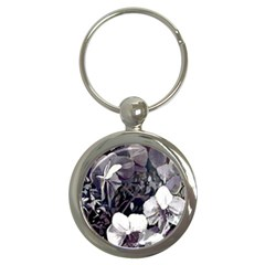 Black White Orchid  fullmoon Key  (Round) by lynngrayson